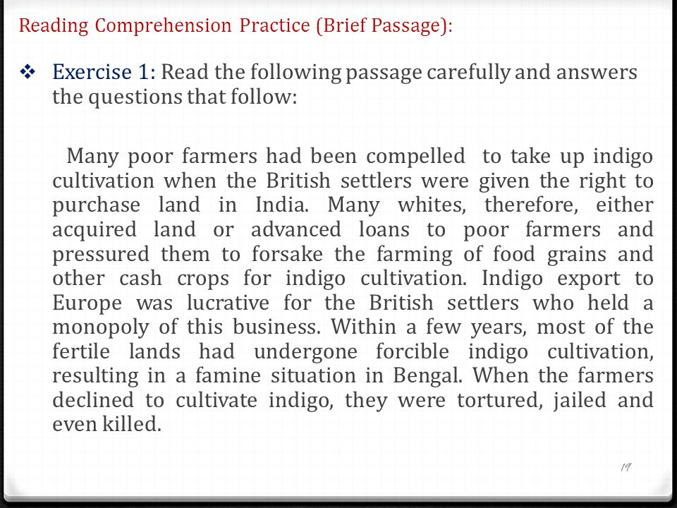 Reading Comprehension Practice (Brief Passage):