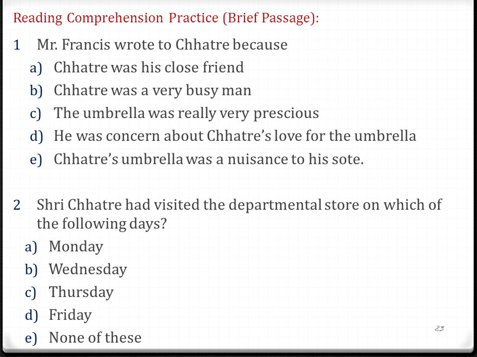 Reading Comprehension Practice (Brief Passage):