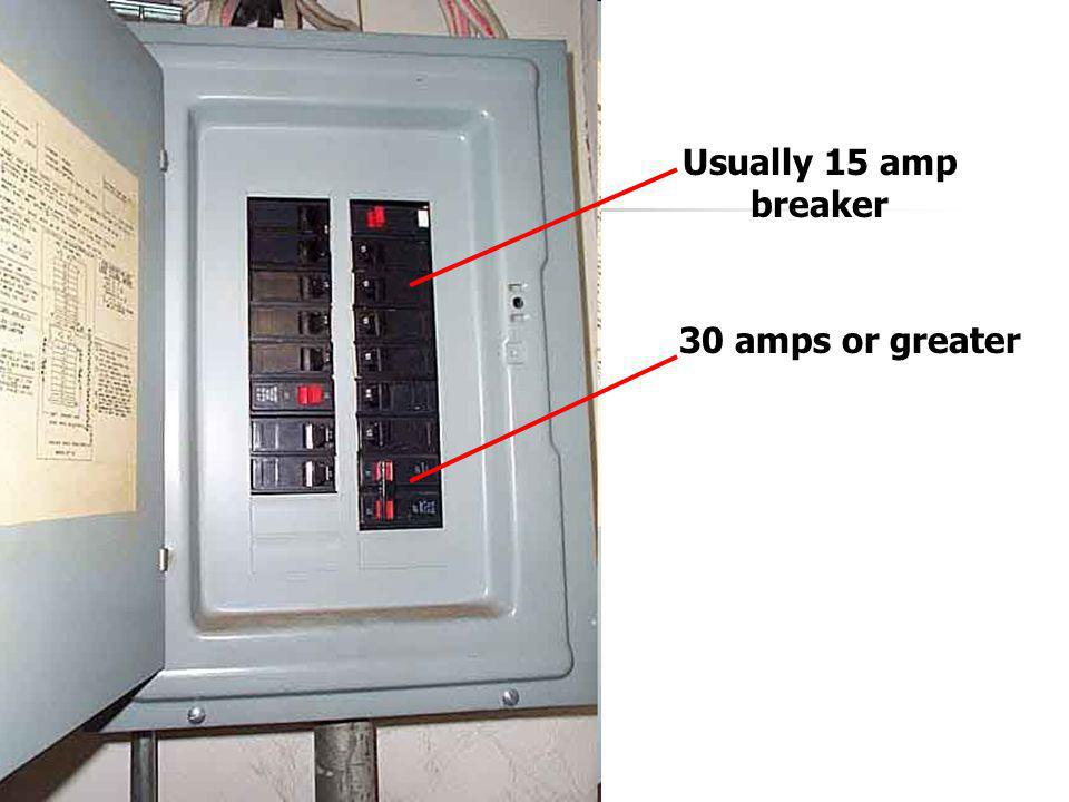 Usually 15 amp breaker 30 amps or greater