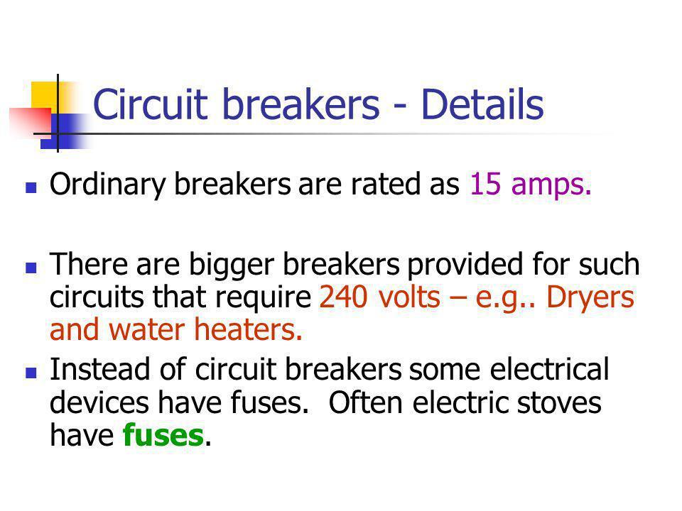 Circuit breakers - Details
