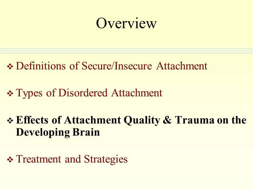 Overview Definitions of Secure/Insecure Attachment