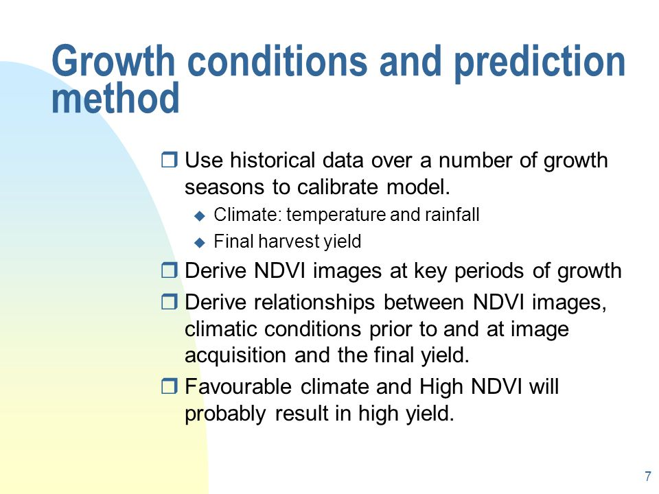 Growth conditions and prediction method