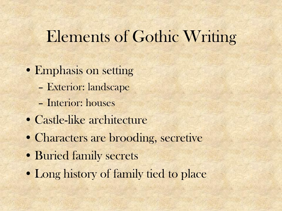 Elements of Gothic Writing