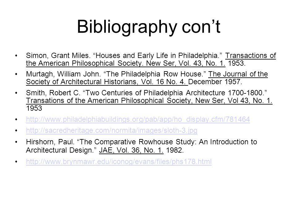 Bibliography con't