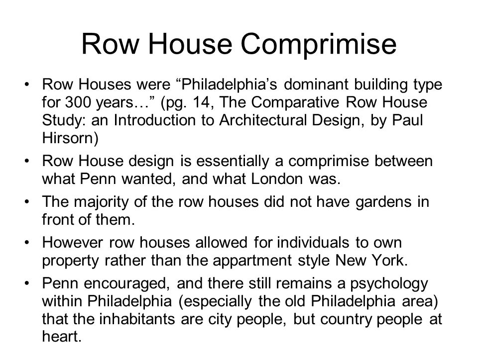 Row House Comprimise