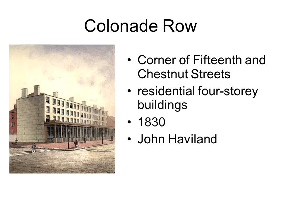 Colonade Row Corner of Fifteenth and Chestnut Streets