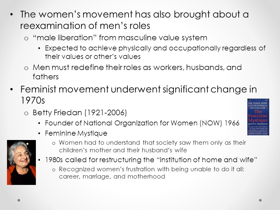 Feminist movement underwent significant change in 1970s