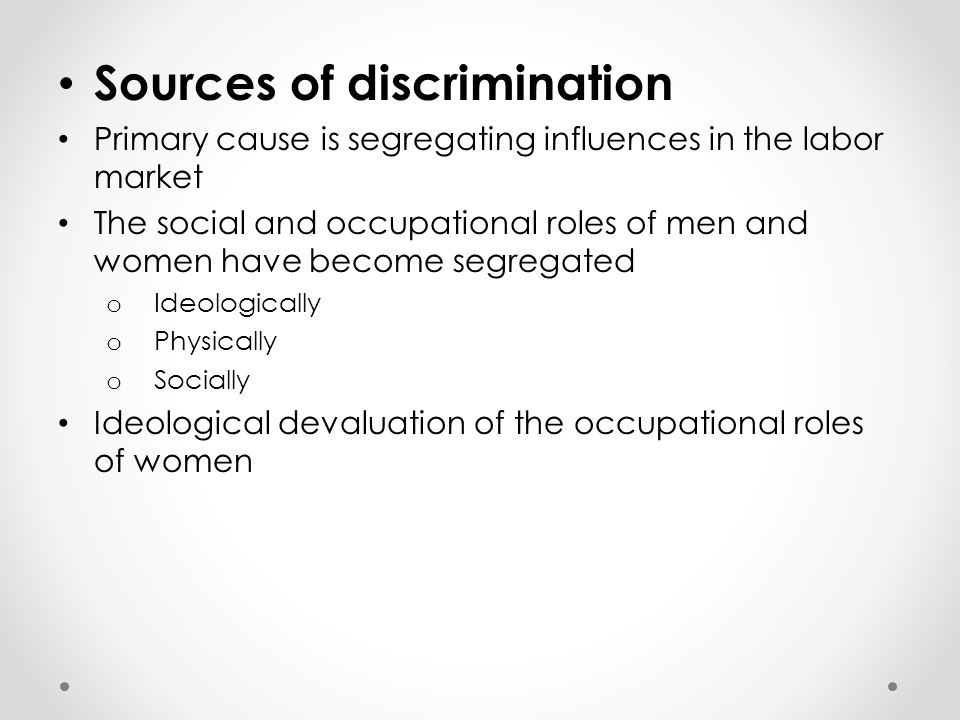 Sources of discrimination