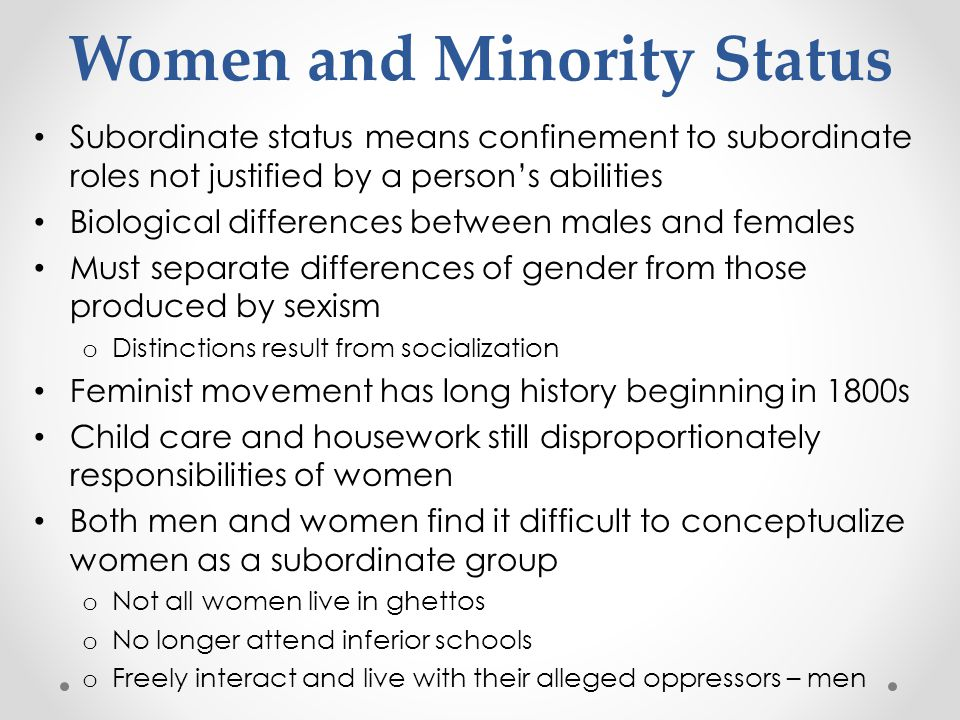 Women and Minority Status