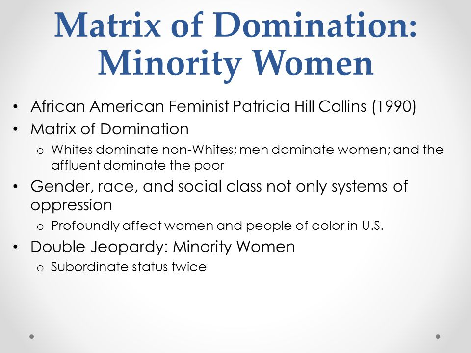 Matrix of Domination: Minority Women