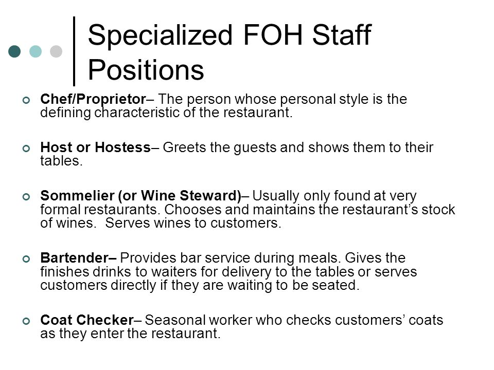Specialized FOH Staff Positions