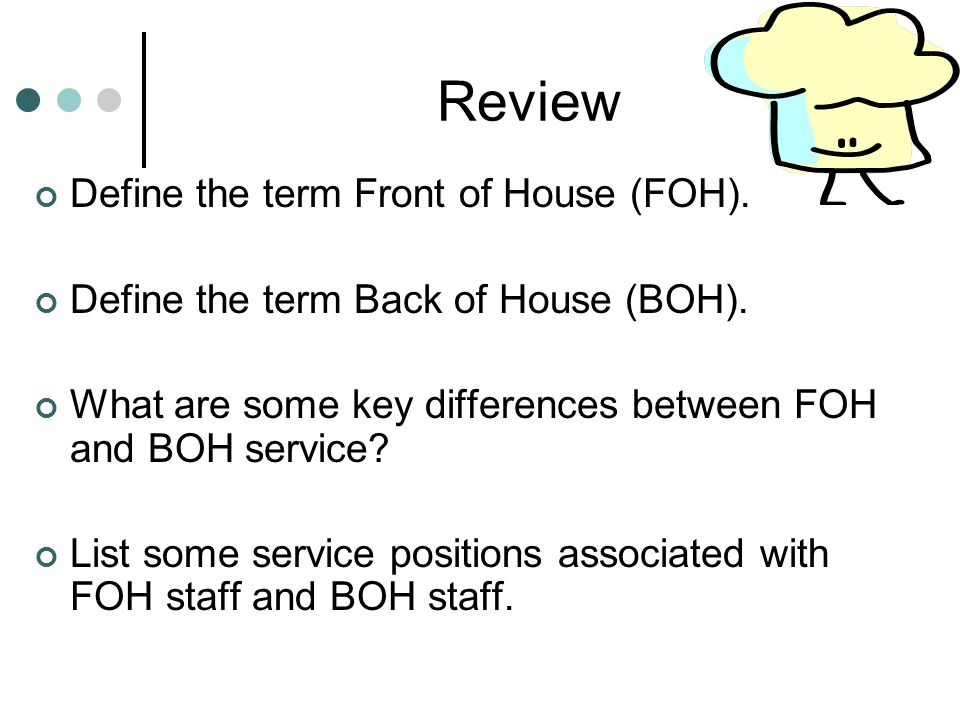 Review Define the term Front of House (FOH).
