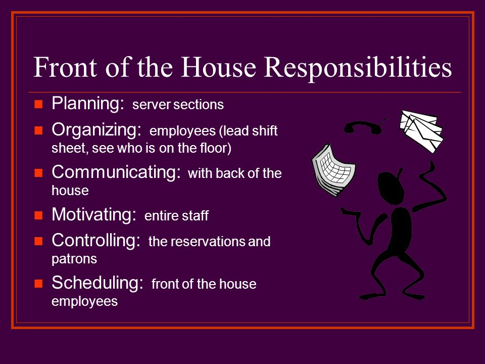 Front of the House Responsibilities