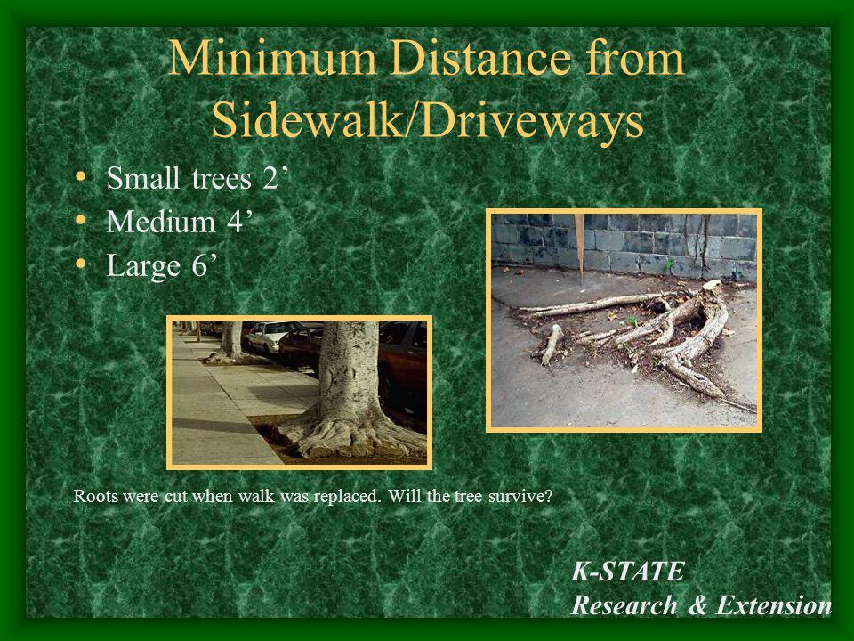 Minimum Distance from Sidewalk/Driveways