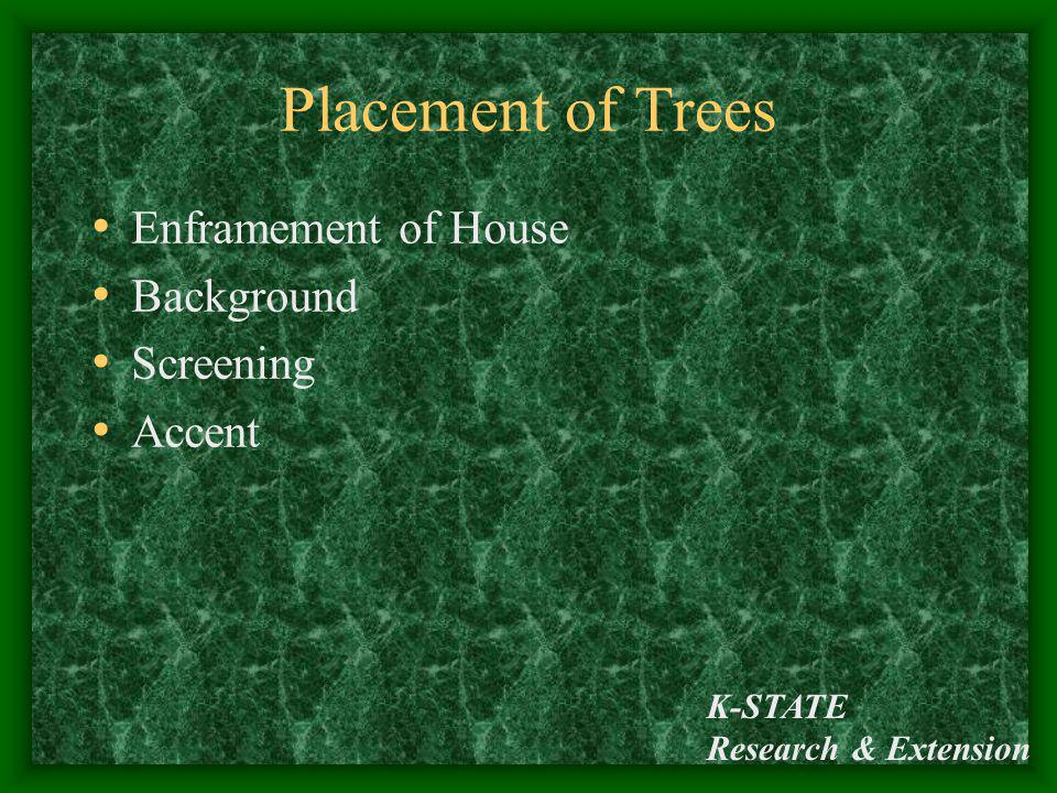 Placement of Trees Enframement of House Background Screening Accent