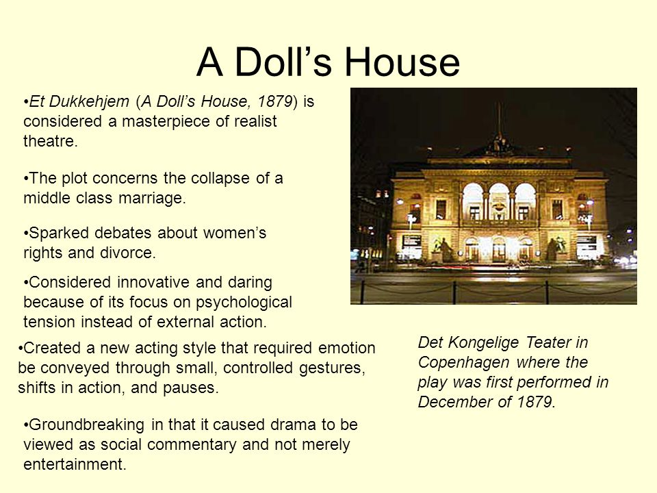 A Doll's House Et Dukkehjem (A Doll's House, 1879) is considered a masterpiece of realist theatre.