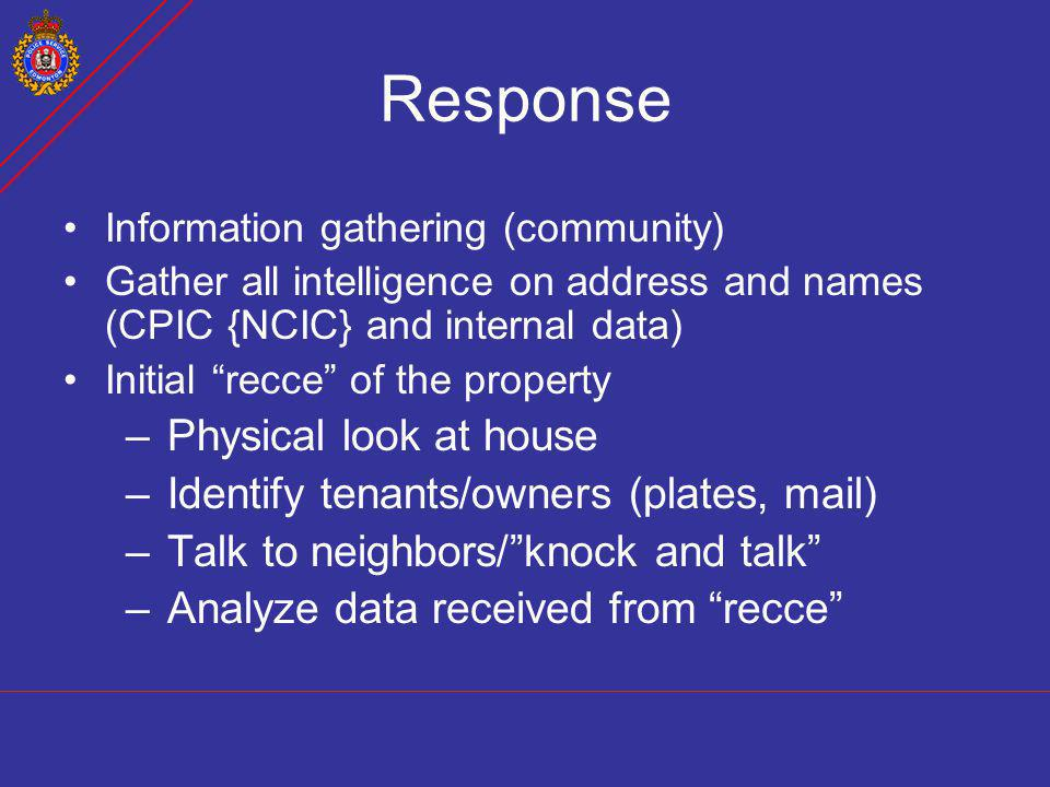 Response Physical look at house Identify tenants/owners (plates, mail)