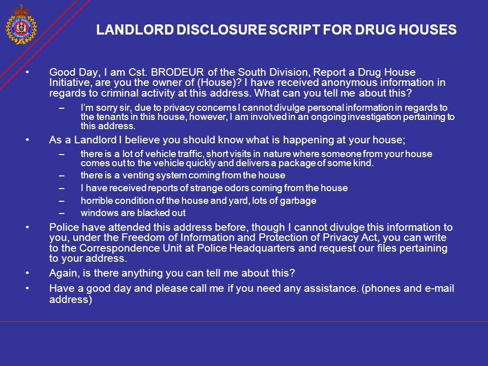 LANDLORD DISCLOSURE SCRIPT FOR DRUG HOUSES