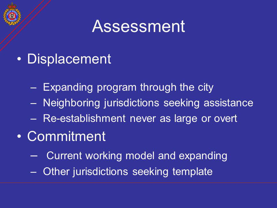 Assessment Displacement Commitment Current working model and expanding