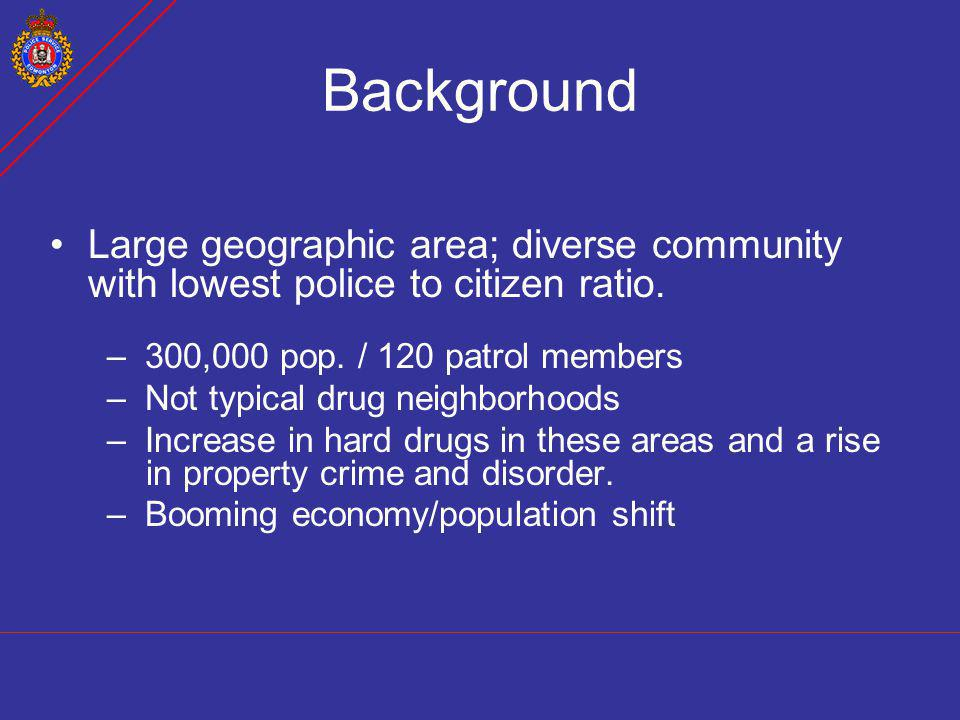 Background Large geographic area; diverse community with lowest police to citizen ratio. 300,000 pop. / 120 patrol members.