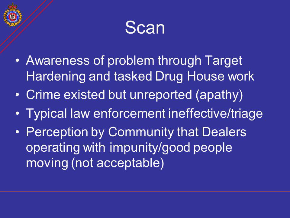 Scan Awareness of problem through Target Hardening and tasked Drug House work. Crime existed but unreported (apathy)