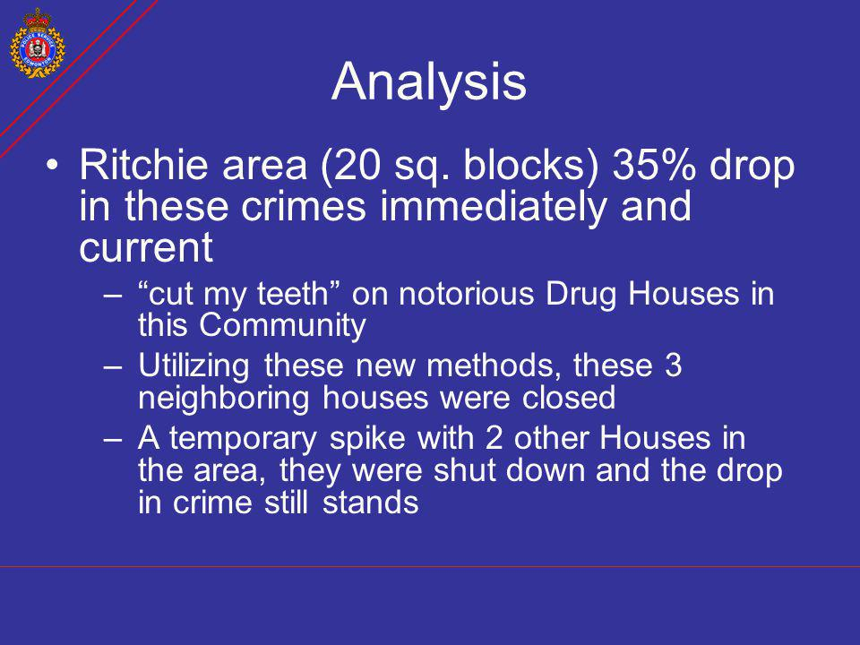Analysis Ritchie area (20 sq. blocks) 35% drop in these crimes immediately and current. cut my teeth on notorious Drug Houses in this Community.