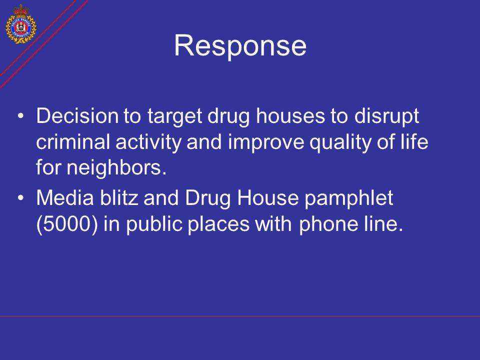Response Decision to target drug houses to disrupt criminal activity and improve quality of life for neighbors.