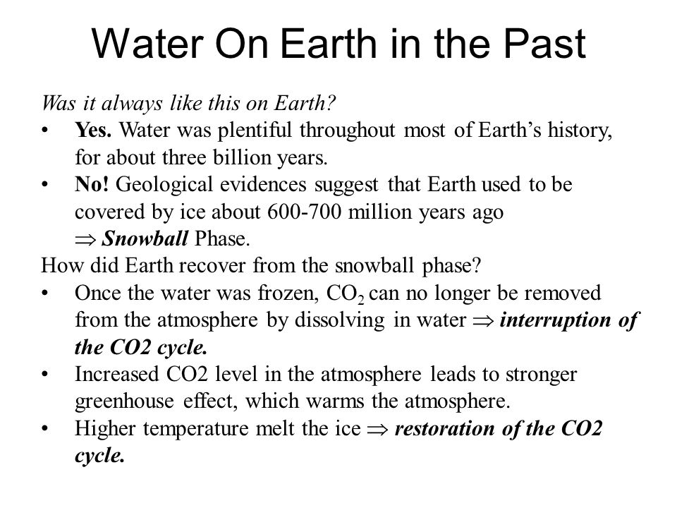 Water On Earth in the Past