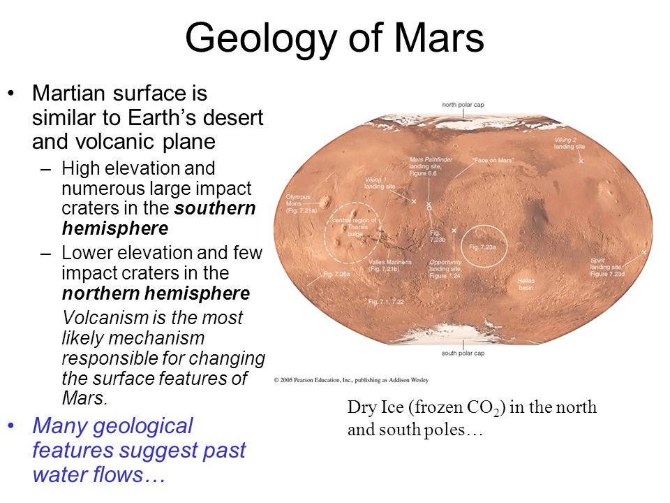 Geology of Mars Martian surface is similar to Earth's desert and volcanic plane.