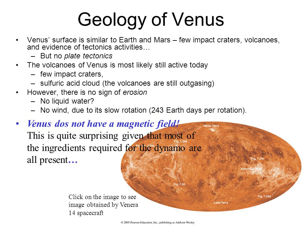 Geology of Venus Venus dos not have a magnetic field!