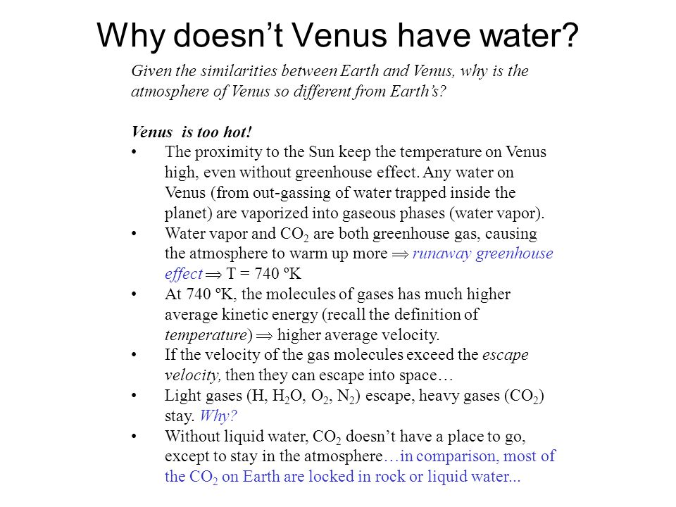 Why doesn't Venus have water