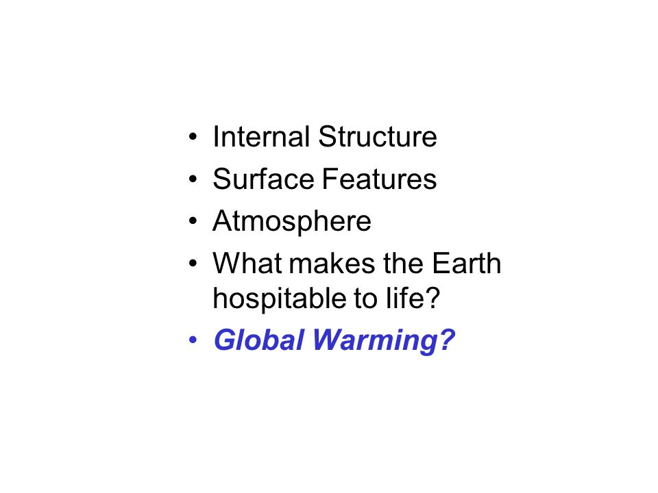 Internal Structure Surface Features. Atmosphere.