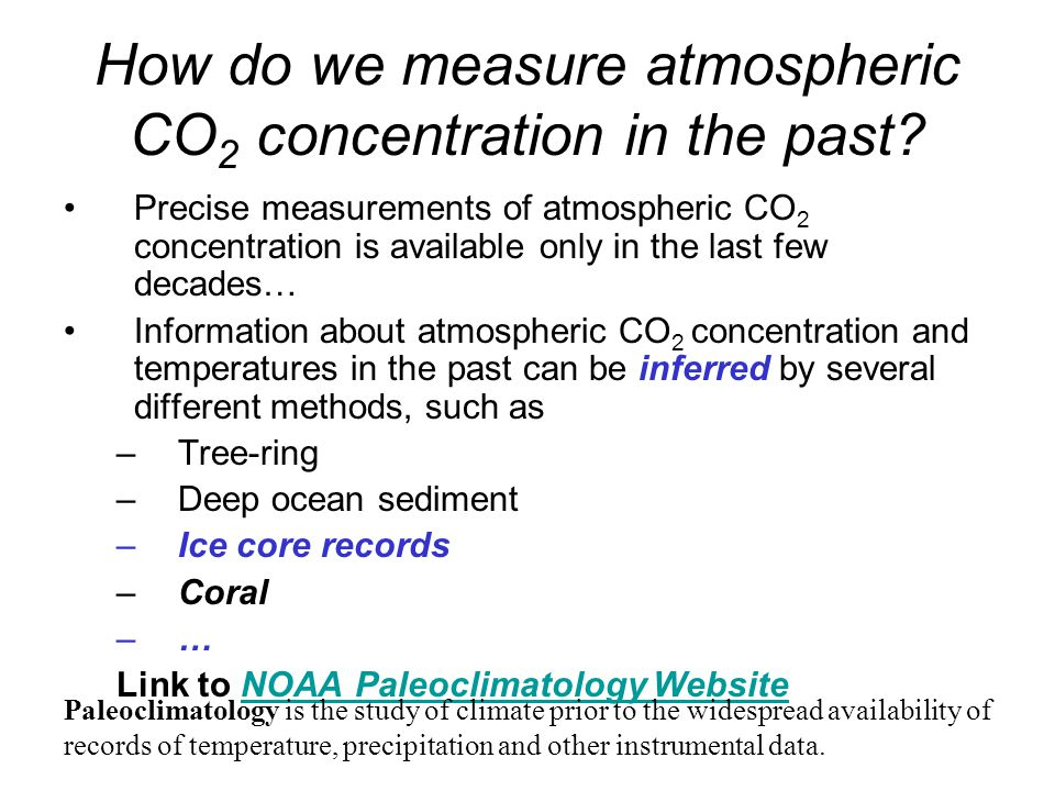 How do we measure atmospheric CO2 concentration in the past