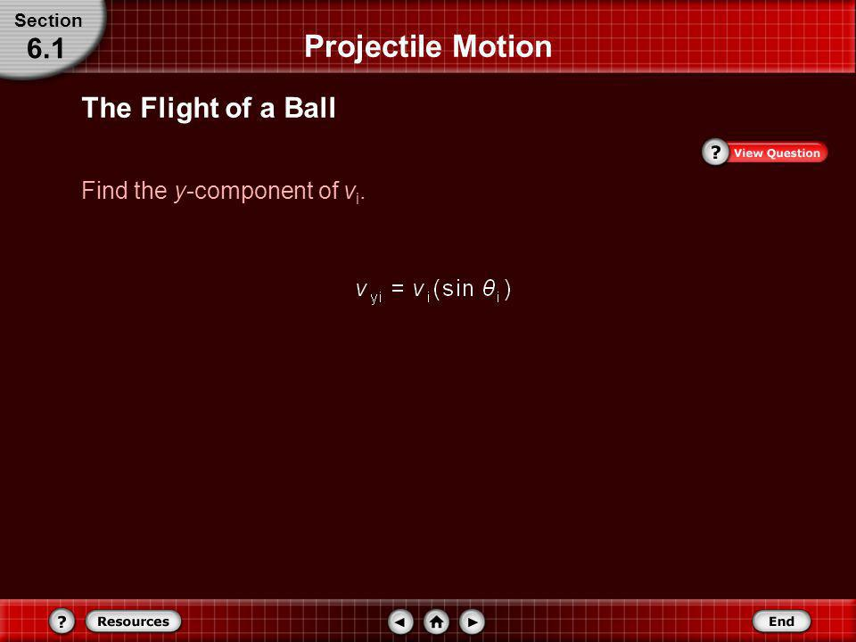 Projectile Motion 6.1 The Flight of a Ball Find the y-component of vi.