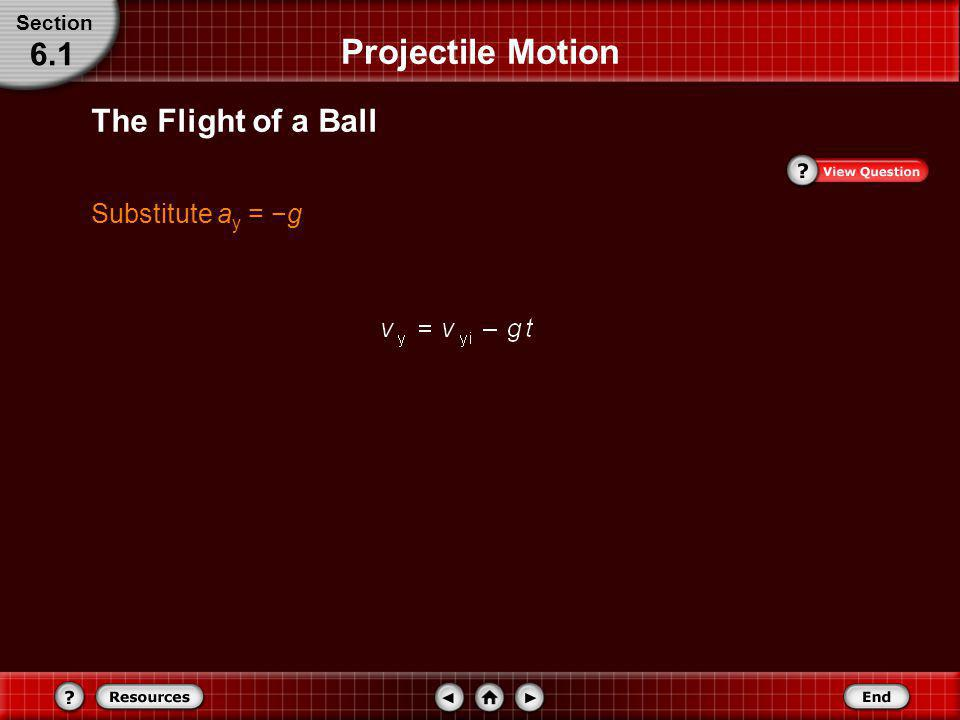 Section Projectile Motion 6.1 The Flight of a Ball Substitute ay = −g