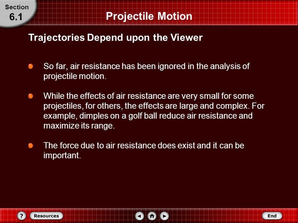 Projectile Motion 6.1 Trajectories Depend upon the Viewer