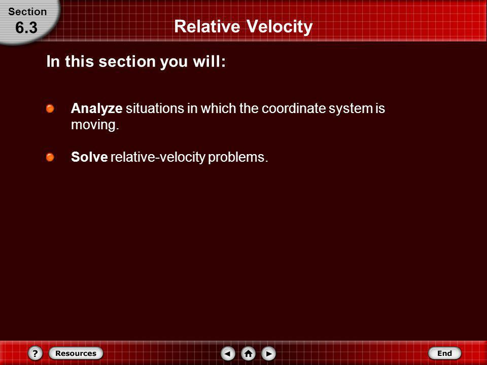 Relative Velocity 6.3 In this section you will: