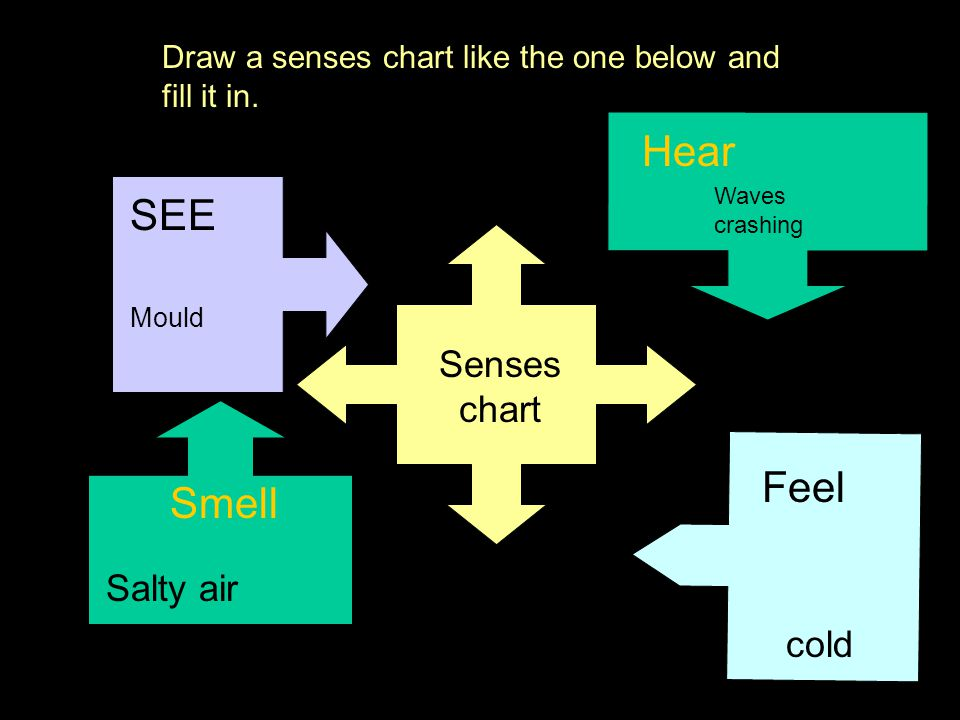 Hear SEE Feel Smell Senses chart Salty air cold