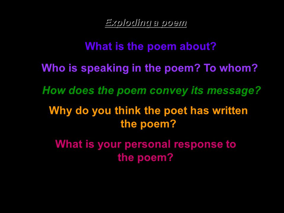 Who is speaking in the poem To whom