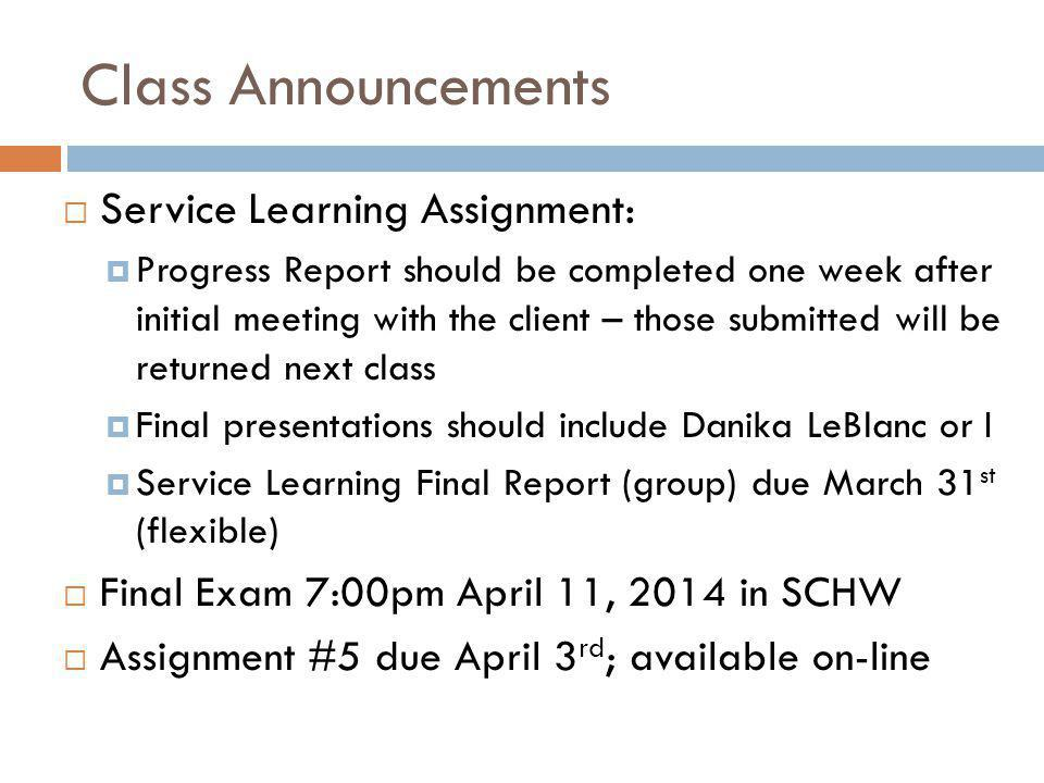 Class Announcements Service Learning Assignment: