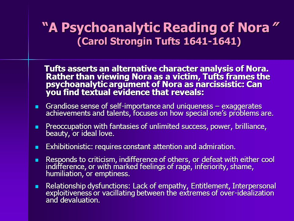 A Psychoanalytic Reading of Nora (Carol Strongin Tufts 1641-1641)