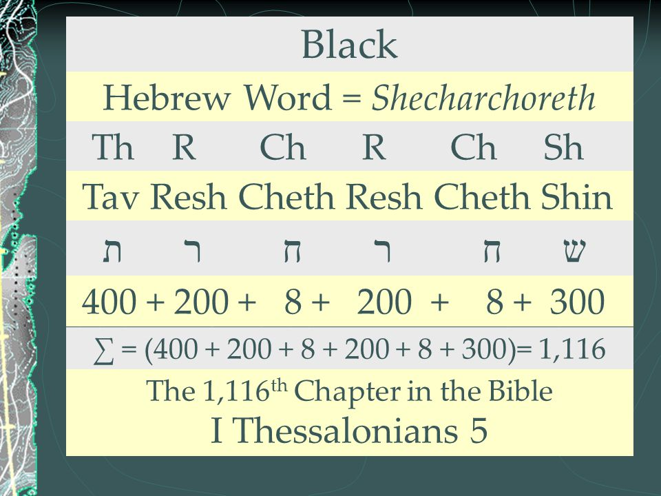 Black ת ר ח ר ח ש Hebrew Word = Shecharchoreth Th R Ch R Ch Sh
