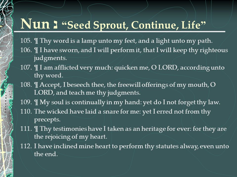 Nun נ Seed Sprout, Continue, Life