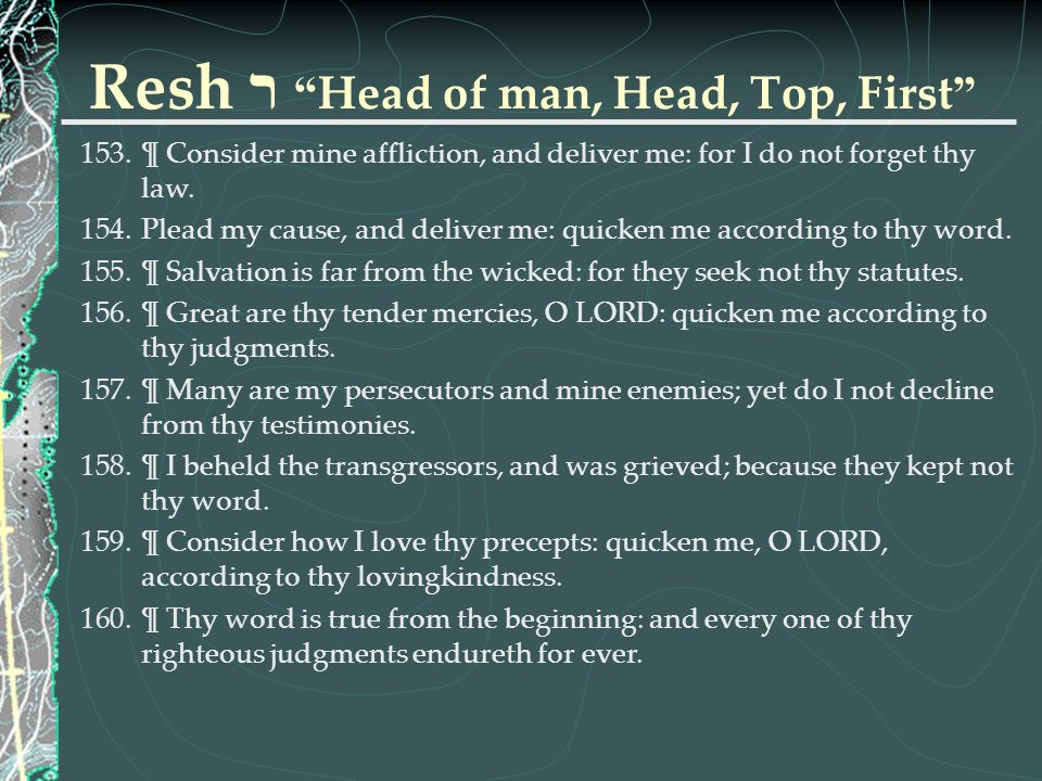 Resh ר Head of man, Head, Top, First