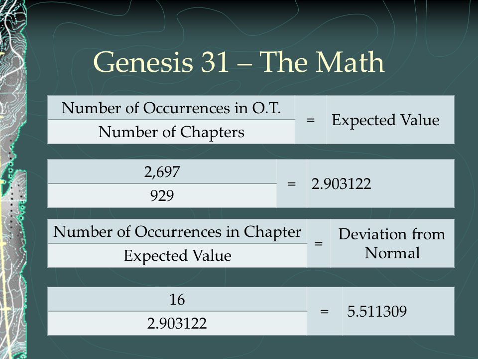 Genesis 31 – The Math Number of Occurrences in O.T. = Expected Value