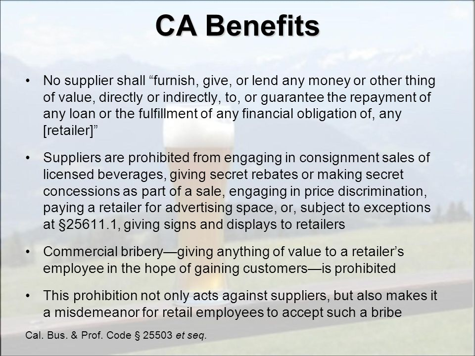 CA Benefits Exceptions
