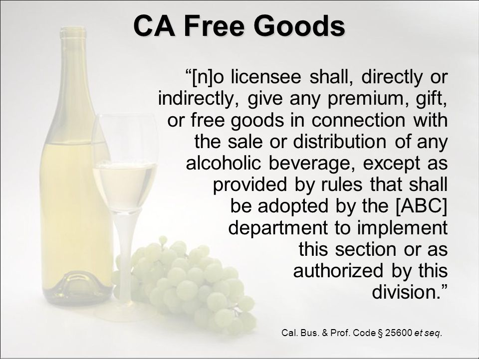 CA Free Goods Exceptions