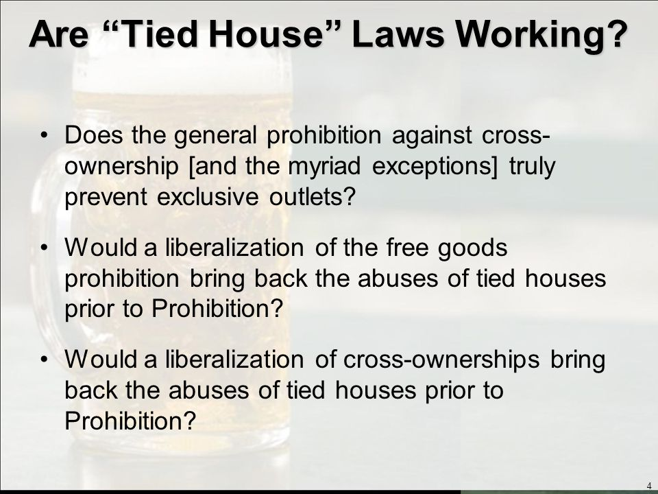 Tied House Issues Historical Perspective Federal Law California Law