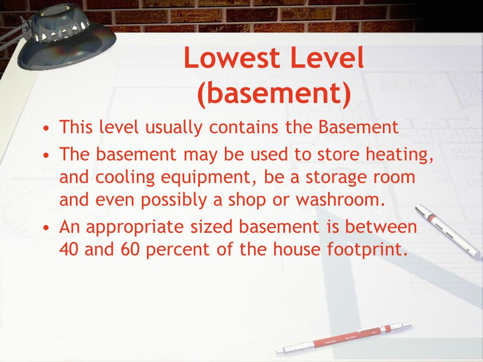 Lowest Level (basement)