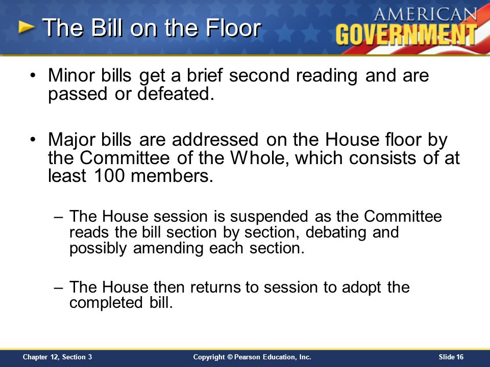 The Bill on the Floor Minor bills get a brief second reading and are passed or defeated.
